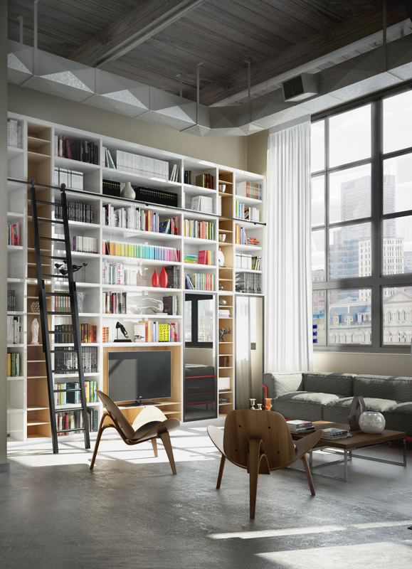 perserverence-design-cool-palette-with-bright-accents-in-storage-library-with-concrete-floor-and-high-ceilings