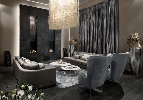 amazing-black-and-grey-living-room-design-gray-curtains-crystal-chandelier