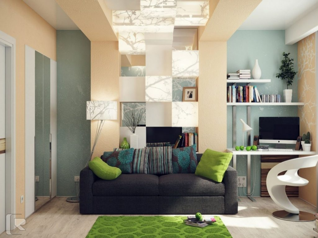 basement-apartment-idea-filled-trendy-computer-chair-and-green-rug-design-feat-geometric-wall-niche-bookshelf-plus-modern-gray-love-seat-1200x900