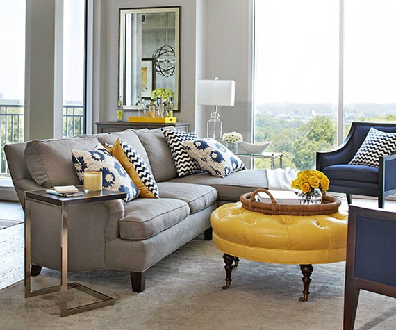 bright-yellow-leather-ottoman